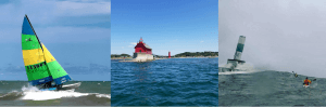 Sailboat kayakers and lighthouse on lake