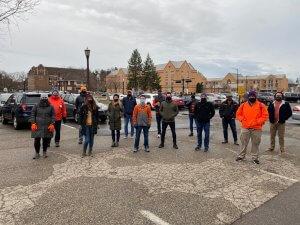 SpinDance team dresses in orange and walks for hunger